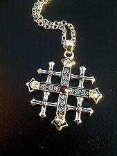 JERUSALEM CROSS Pendant- MORE  BELOW -The Jerusalem Cross History & Meaning.