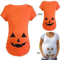 Halloween Pregnant Women Maternity Pumpkin Carved Face T-shirt Pregnancy Tops