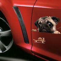 Funny 3D Cartoon Pug Dogs Watch Snail Car Window Decal Cute Pet Laptop Stickers