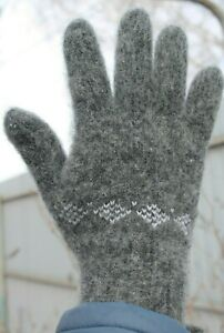 Men's GLOVES winter 100% SHEEP WOOL warm comfortable soft Gray
