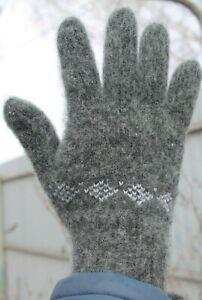 Men's GLOVES winter 100% SHEEP WOOL warm comfortable soft Gray