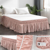 MOHAP 16'' Drop Bed Dressing Dust Ruffle Skirt Wrap Around Solid Plain Bed Pink