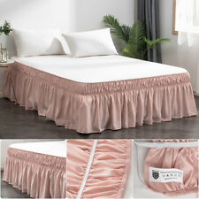 Pink 16'' Drop Bed Skirt Queen Dressing Dust Ruffle Wrap Around Solid Plain Bed