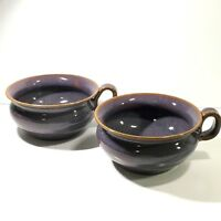 2 Linda Potts Soup Cereal Mugs Seagrove NC Art Pottery  LP95 Purple High Glaze