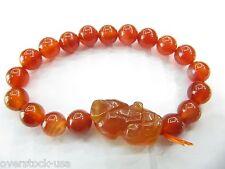 FINE 10mm Red Agate and Pixiu Beads Bracelet / Pixiu Bracelet