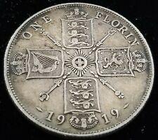 United Kingdom England 1 Florin 1919 92.5% Silver