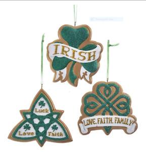 "KURT ADLER 3"" IRISH CHRISTMAS ORNAMENTS SET OF 3 Shamrock Wedding Gift"