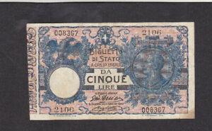 5 LIRE FINE BANKNOTE FROM ITALY 1915  PICK-23 RARE SIGN:DEL'ARA&RIGHETTI