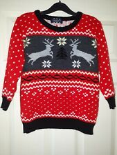 Kids Christmas Jumper Aged 7-8Red.  Reindeer