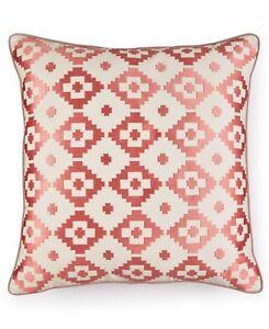 "NEW Martha Stewart Red Rock Diamond 20"" Square Decorative Pillow Coral G2063"