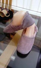 Tamaño 5 - 6 la compañía Blanca Peludo Forrado Ballet Zapatillas De Gamuza Marrón Topo Nuevo