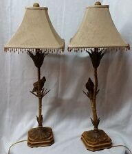 Pair of Vintage Metal Signed Berman Table Lamps with Bird Birds H 35""