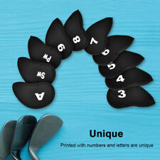 10Pcs Neoprene Golf Iron Club Cue Head Protect Cover with Number Letter Black