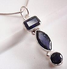 Blue Iolite Triple-Gem 925 Sterling Silver Pendant Corona Sun Jewelry