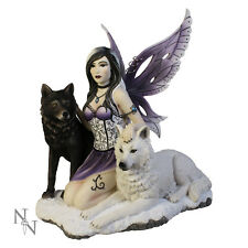 Nemesis Now Ebony and Ivory Fairy Companion Wolves Figurine Fantasy Gothic 28cm