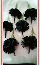 NEW 6 BLACK SILK CARNATION  BUTTONHOLES WITH FERN.WEDDING PARTY.GUEST.PROM