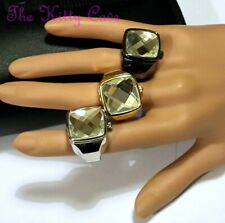 Rare Unusual Red Carpet Cocktail Large Cut Austrian Crystal Statement Ring Watch