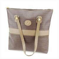 Mario Valentino Tote bag Beige Brown PVC Leather Woman Authentic Used Q517