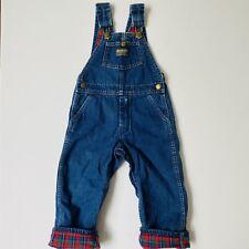 Vintage OshKosh B'Gosh Denim Vestbak Flannel Lined USA Overalls Blue Toddler 4T