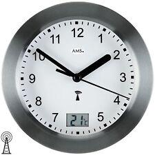 AMS 5925 Wanduhr Baduhr Badezimmeruhr Funk anthrazit wasserdicht mit Thermometer