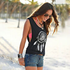 Womens Summer Boho Ethnic Vest Tops Shirt Ladies Sleeveless Loose Beach Blouse