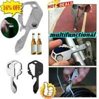 Steel Stainless Multi-Tool Key Shaped Pocket Tool for Keychain Bottle Opener neu