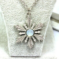 Christmas Crystal Snowflake Vintage Frozen Flower Silver Necklace Pendant
