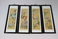 4er Set Wandbilder chinesische Gemälde auf Stoff Vögel Blumen Malerei (RK496)