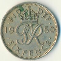 1950 SIXPENCE - KING GEORGE VI.  GREAT BRITAIN COIN COLLECTIBLE    #WT7069