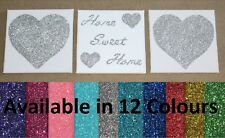 Set of 3 Glitter Home Sweet Home / Heart Canvas Wall Art Pictures - 12 Colours
