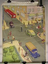 Schulwandbild Fahrschule Führerschein Autoverkehr 84x118 vintage ESSO map 2~1955