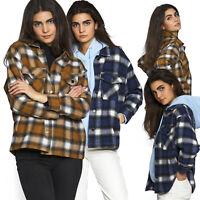 Damen Oversized Holzfäller Hemd Kariert Muster Hemden Übergang kurz schlicht