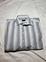 Canali Mens Dress Shirt White Blue Striped Pocket Collared 100% Cotton 18 46