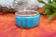 Navajo Sterling Rings Channel Inlaid w/ Easter Blue Turquoise SZ5.5, 6.5, 6.5