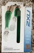 New Men 2XU Compression Performance Running Socks Extra Small XS Fern/Lime Green
