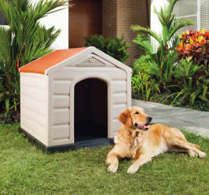 Rimax Taupe Resin Dog House for Large and Medium Breeds