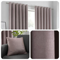 Fusion STRATA Blush Pink Dim Out Eyelet Curtains & Cushions