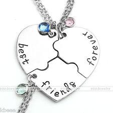 3pc/Set Friendship Silver Puzzle best friends forever Pendant Heart Necklace