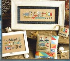 """RED WHITE & BEACH"" #184 New Design  -  Cross Stitch Pattern From Lizzie Kate"