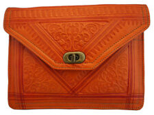 Clearance-Handmade embossed Leather clutch bag/purse/shouder bag