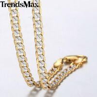 4mm Hammer Curb Cuban Link Silver Gold Filled Chain Necklace Men Women 22-36""