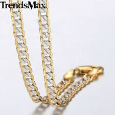 4mm Thin Hammer Curb Cuban Link Silver Gold Filled Chain Necklace Men Women