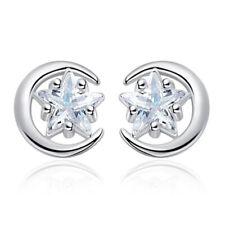 925 Sterling Silver Star And Moon Zirconia Stud Earrings Women Fashion Jewelry