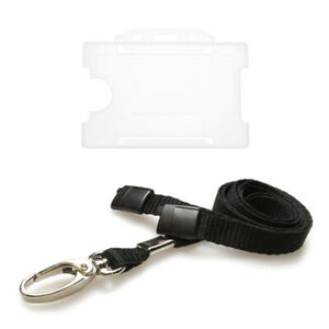 Clear Single Sided ID Card Badge Holder with Lanyard Neck Holder - Fast FREEPOST