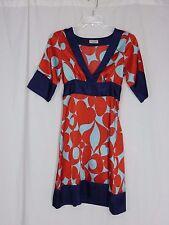 GUESS JEANS Women's Blues/Red V neck-Empire-Short Slvs-Knee length Dress Sz XS