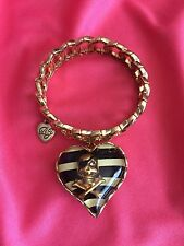 Betsey Johnson Vintage Pirate Skull & Crossbones Lucite Striped Heart Bracelet