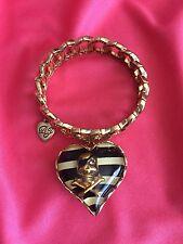 Betsey Johnson Vintage Pirate Skull & Crossbones Lucite Striped Heart Bracelet