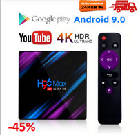 H96max Android 9.0 Smart TV BOX Assistant récepteur 4K 2Gb RAM WiFi Netflix EU