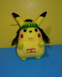 "Jamaica Pokemon Pickachu Plush 7"" Jamaican No Problem Novelty Rare Hard To Find"