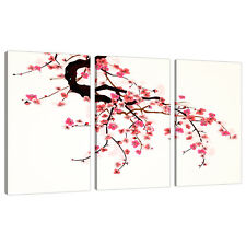 Set of 3 Pink Cream Red Japanese Canvas Wall Art Bedroom Pictures 3081